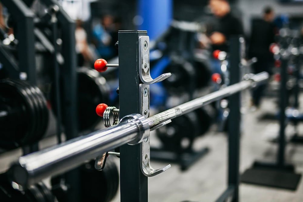 barbell-free barbell with blurred background