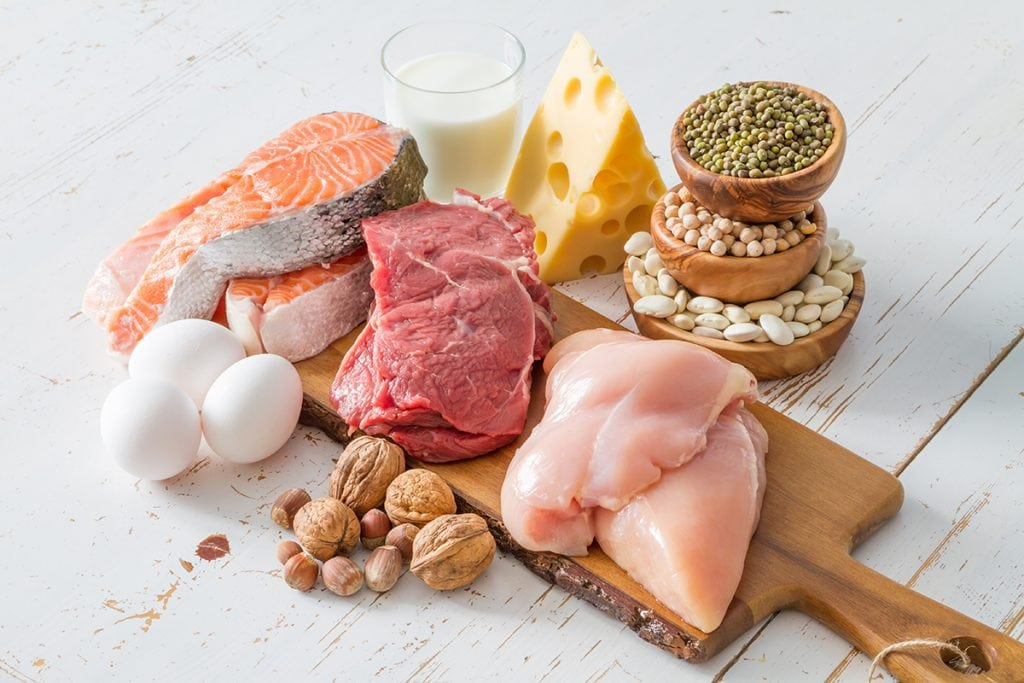 Selection of protein sources in kitchen background